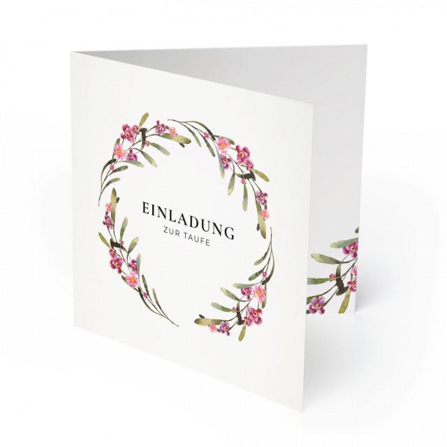 Einladungskarten zur Taufe - Blumenkranz