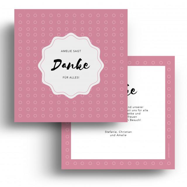 Geburtskarten Danksagungskarten - Punkte Rosa Mädchen