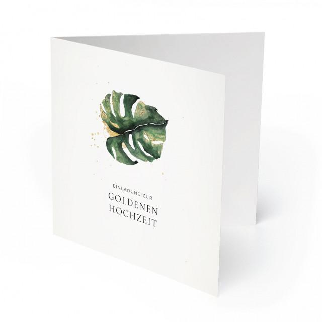 Einladungskarten Goldene Hochzeit - Goldblatt