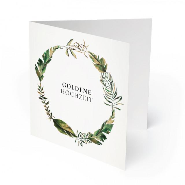 Einladungskarten Goldene Hochzeit - Blumenkranz