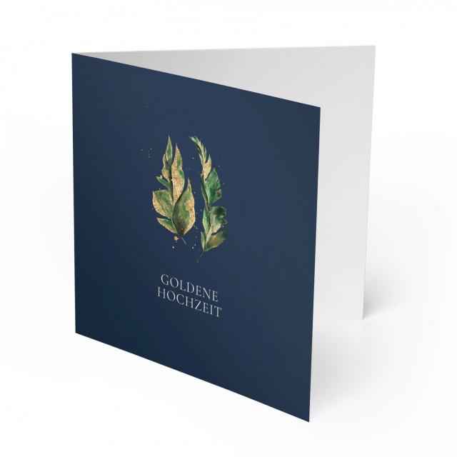 Einladungskarten Goldene Hochzeit - Blätter