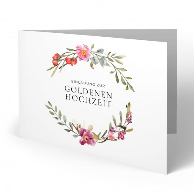 Einladungskarten Goldene Hochzeit - Blumenzweige