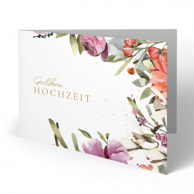 Einladungskarten Goldene Hochzeit - Floral