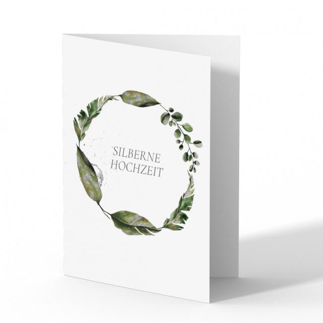 Hochzeitseinladungen Silberne Hochzeit - Blumenkranz