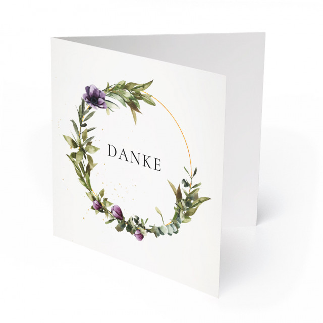 Hochzeit Dankeskarten - Blumenkranz