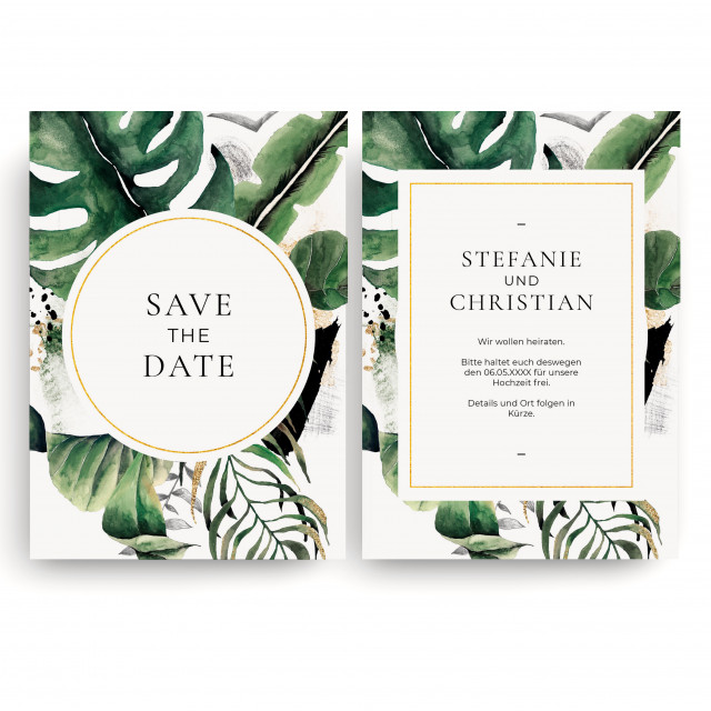 Save the Date Karten zur Hochzeit - Goldblatt