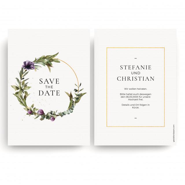 Save the Date Karten zur Hochzeit - Blumenkranz