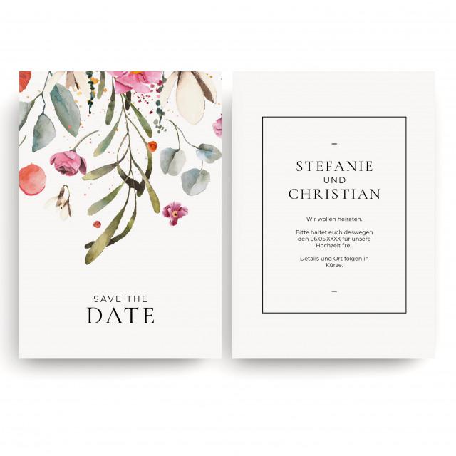 Save the Date Karten zur Hochzeit - Blumenregen