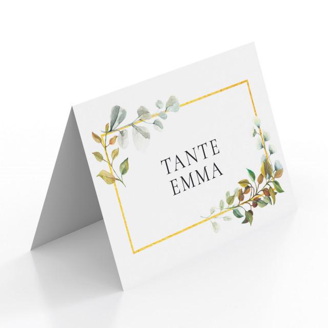 Tischkarten zur Hochzeit - Goldene Raute