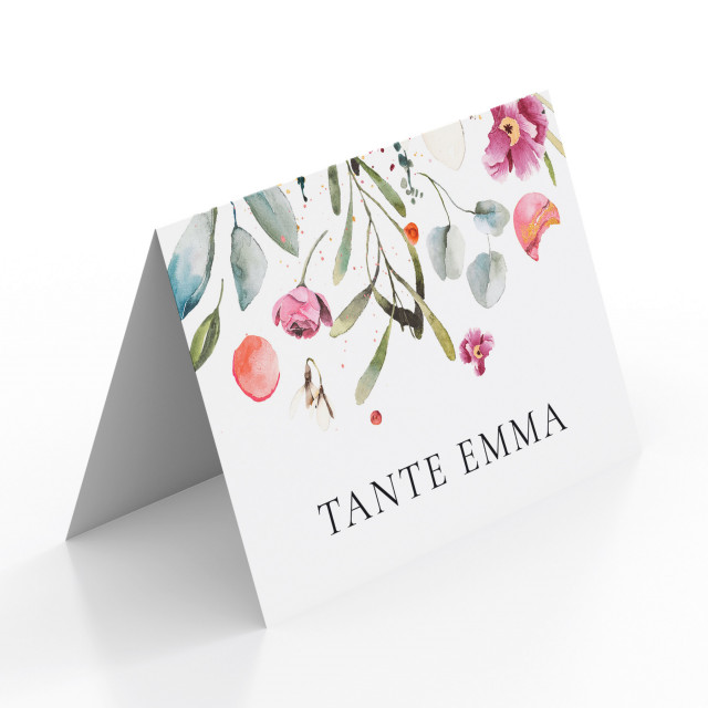 Tischkarten zur Hochzeit - Blumenregen