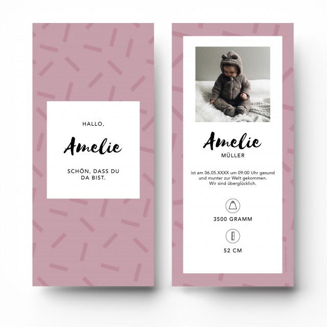 Geburtskarten - Striche Rosa Mädchen