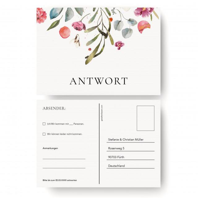 Antwortkarten Hochzeit - Blumenregen