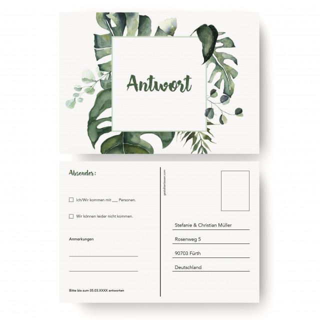 Antwortkarten Hochzeit - Dschungel