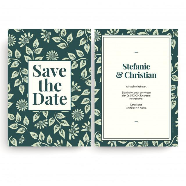 Save the Date Karten zur Hochzeit - Blumenornamente