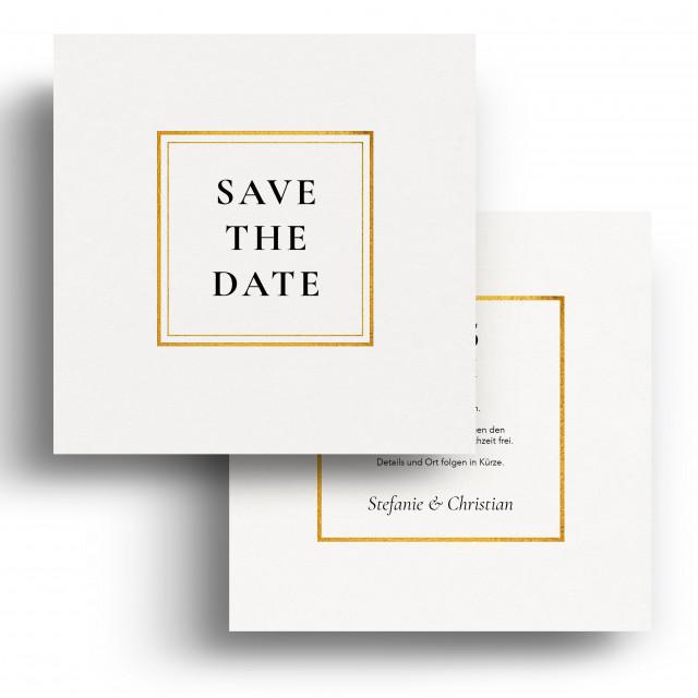 Save the Date Karten zur Hochzeit - Weiß Gold