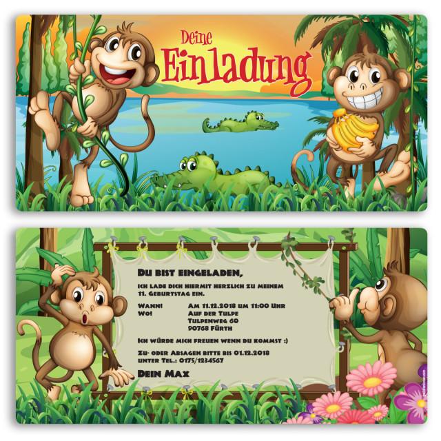 Einladungskarten - Affen