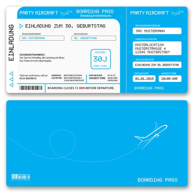 Einladungskarten als Flugticket - Cyan