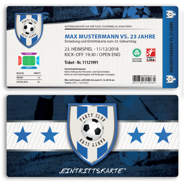 Einladungskarten als Fussballticket - Blau
