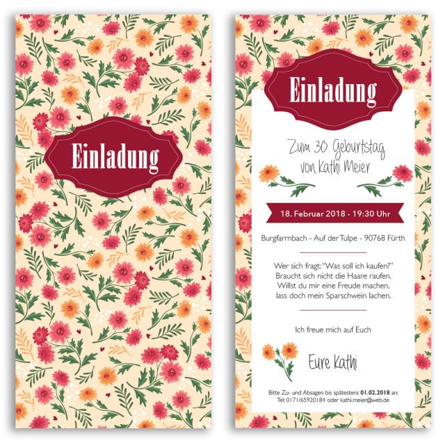 Einladungskarten - Blumen gelb