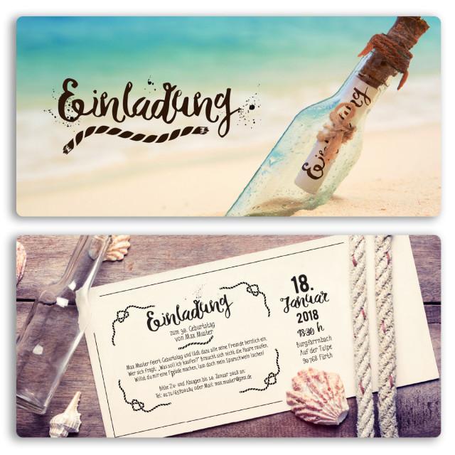 Einladungskarten - Flaschenpost