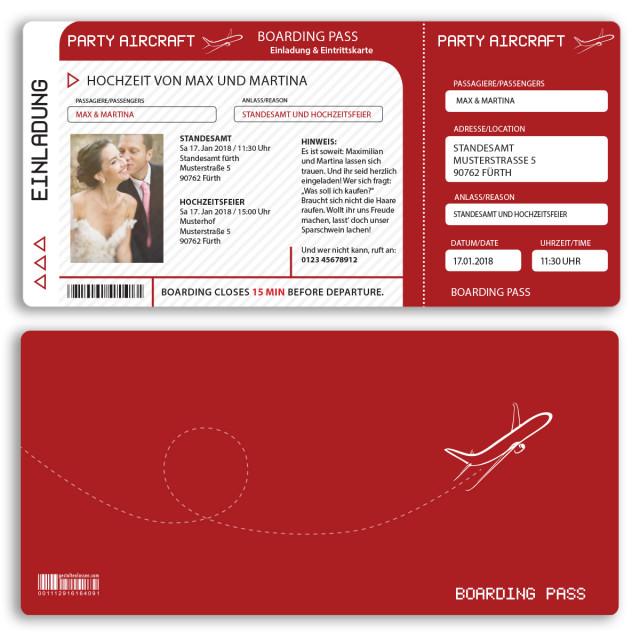 Hochzeitskarten als Flugticket - Rot