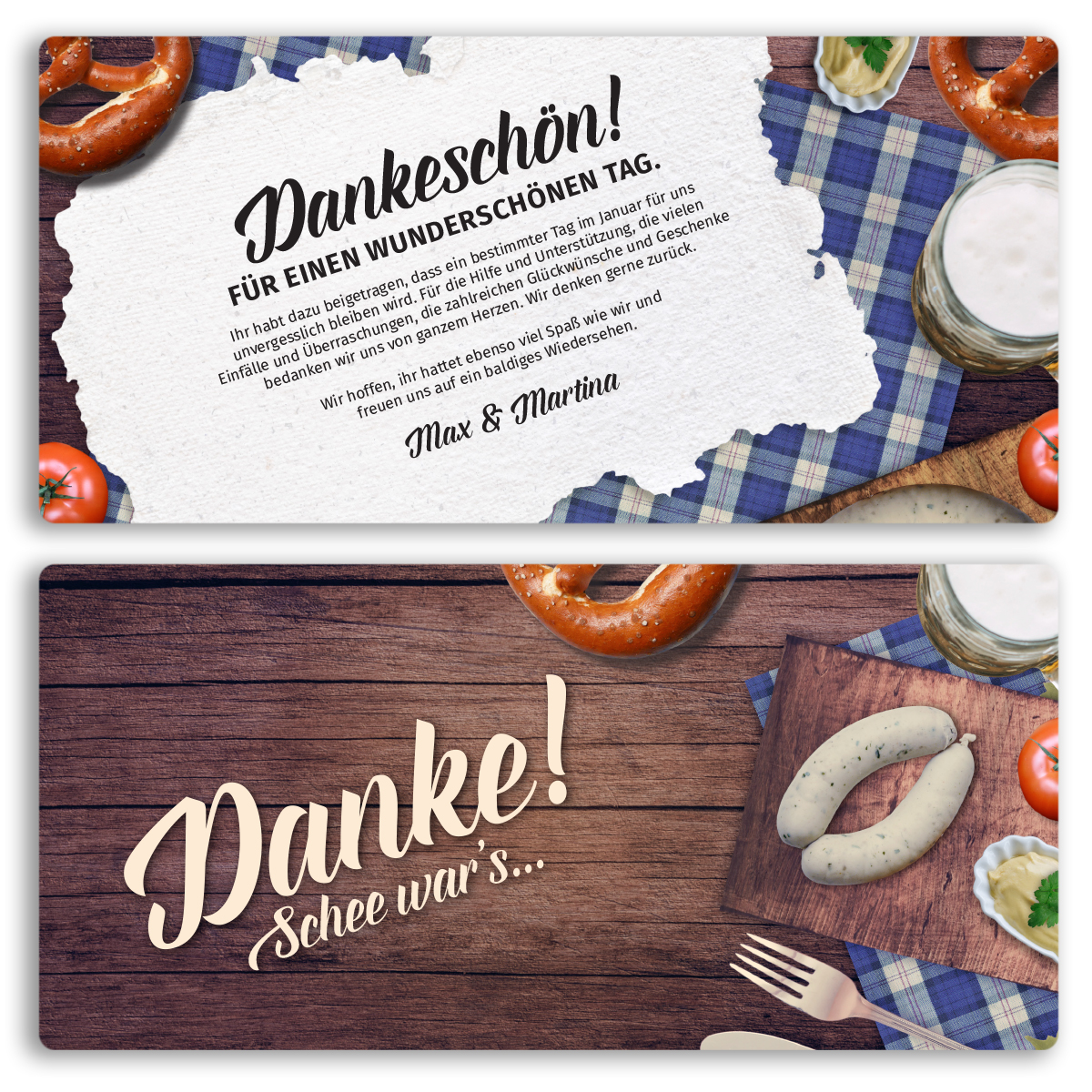 danksagungskarten hütt´n oktoberfest danksagung bayern, Einladungen