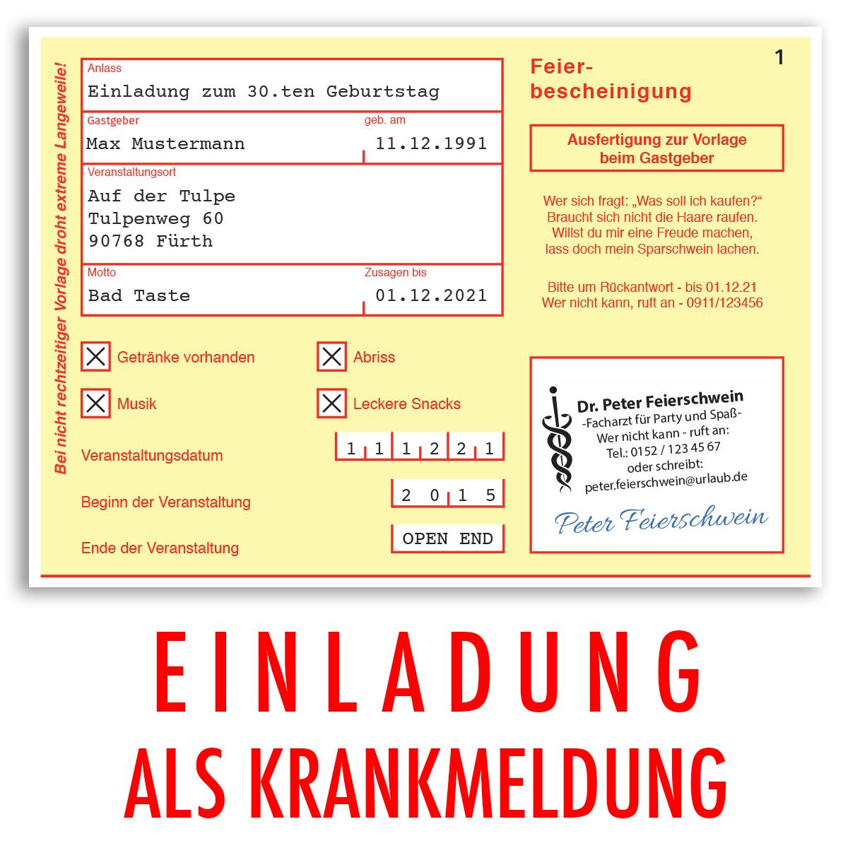 Einladungen Geburtstag Krankschreibung Krankmeldung Einladungskarten 30 40  50 60