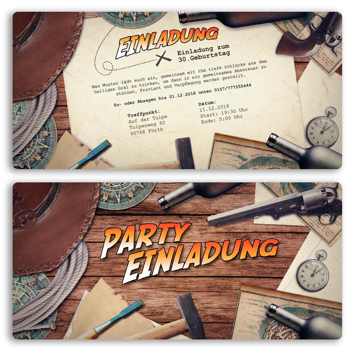 Einladungskarten Zum Geburtstag Abenteuer Party Karte