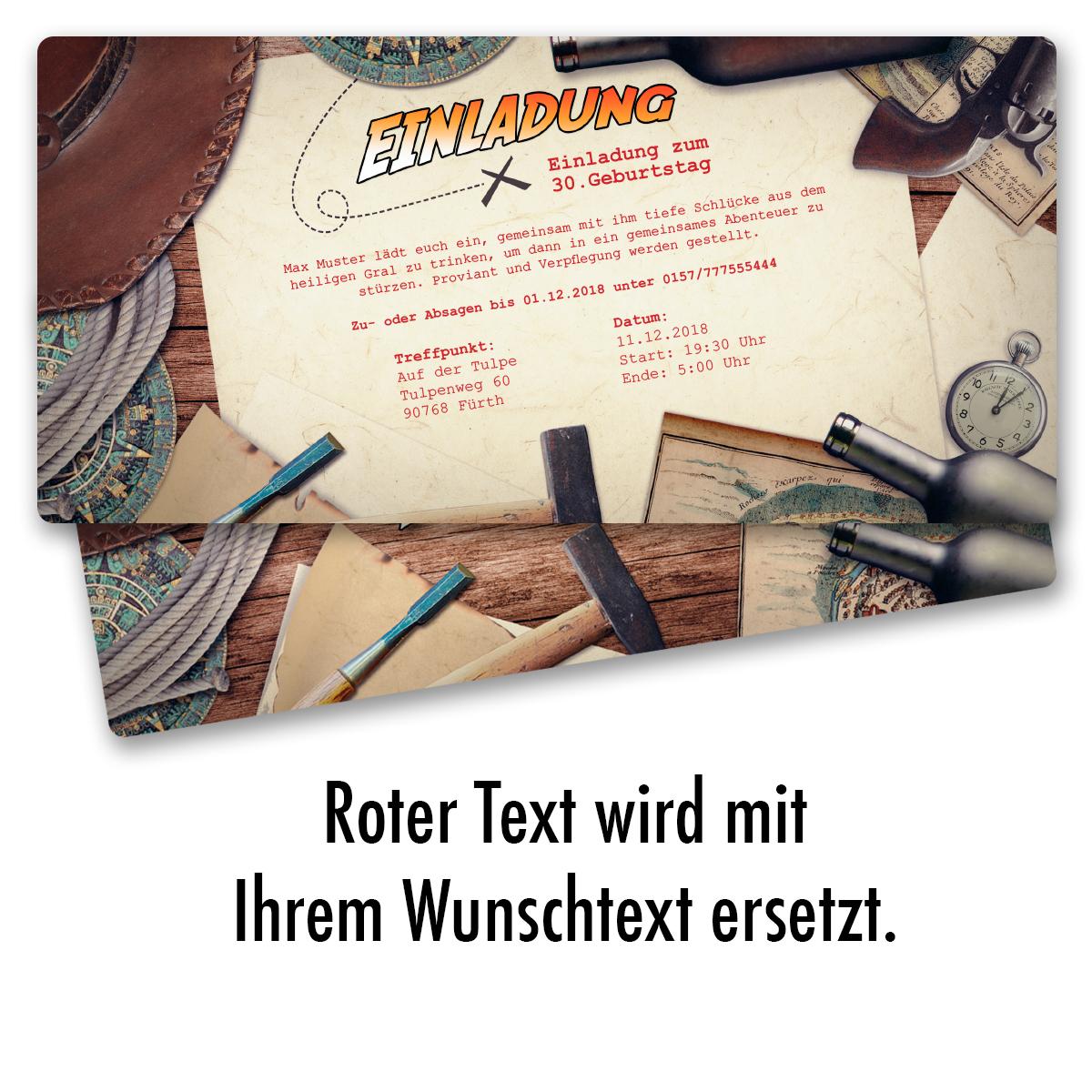 Einladungskarten zum geburtstag abenteuer party karte for Party utensilien