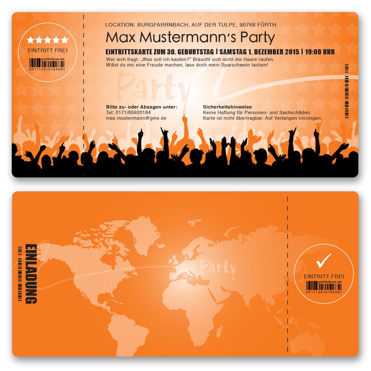 einladungskarten als eintrittskarte in orange ab 55 cent einladung gestaltenlassen com. Black Bedroom Furniture Sets. Home Design Ideas