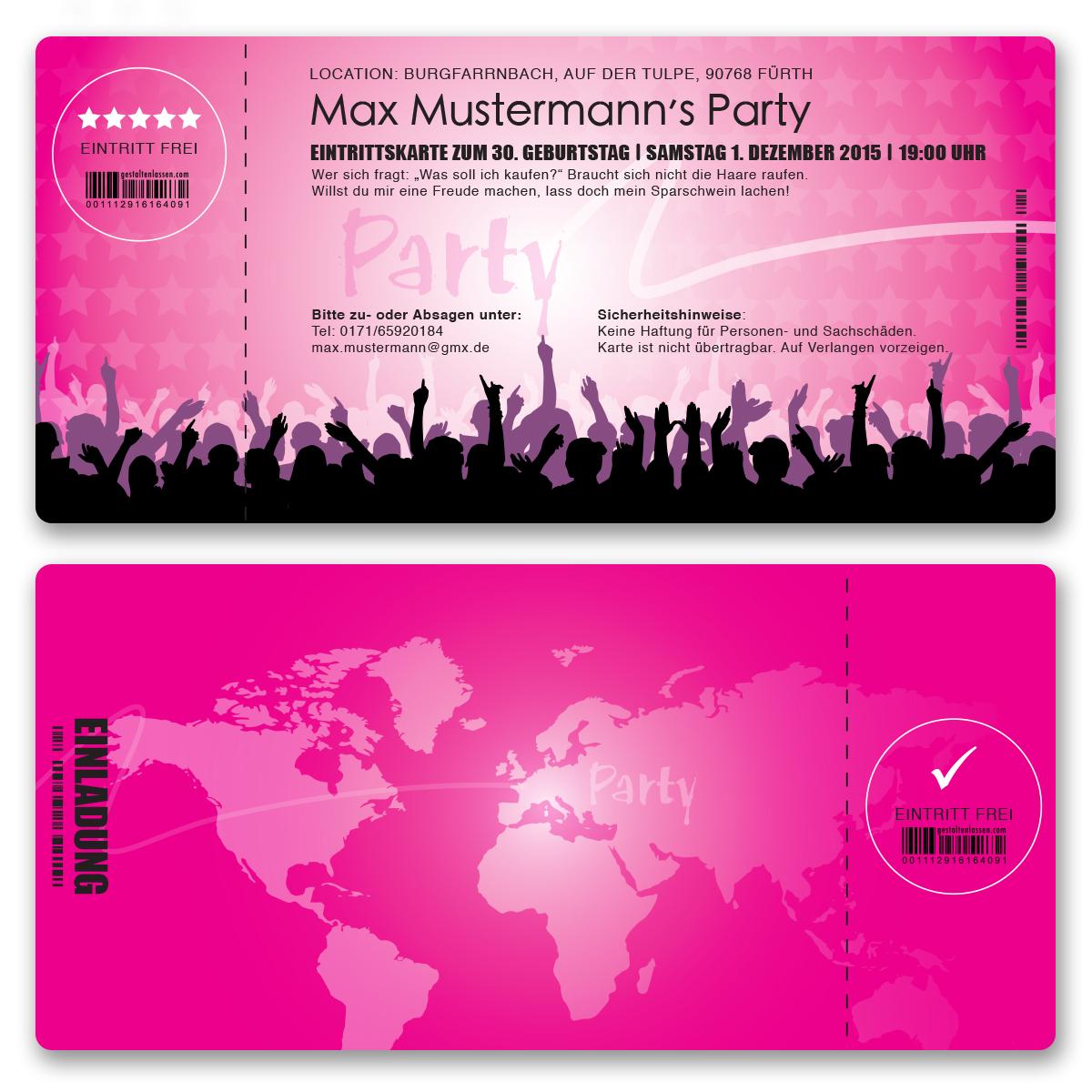 Einladungskarten Zum Geburtstag Als Eintrittskarte Party Einladung Karte  Pink