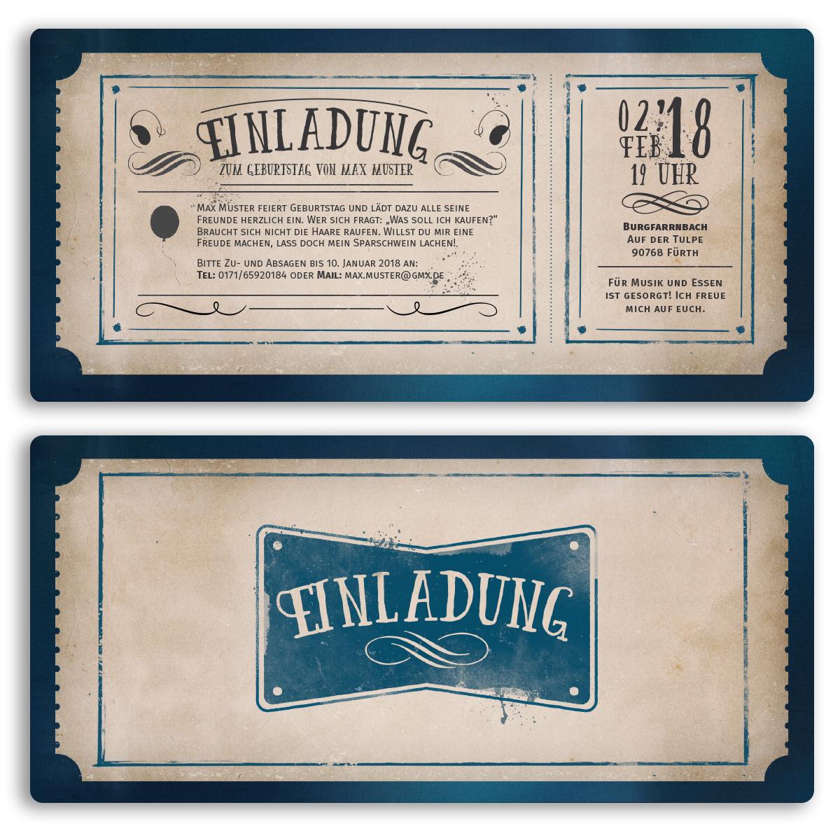 Einladungskarten Zum Geburtstag Als Eintrittskarte Retro Vintage Karte  Einladung