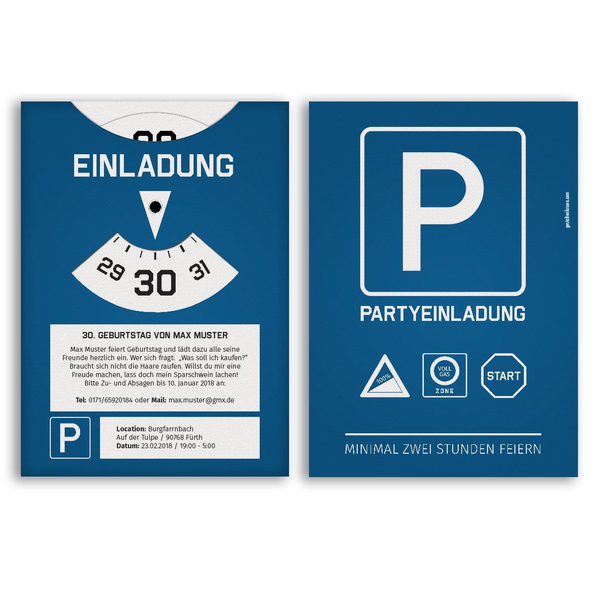 Einladung Vorlage Zu Party Geburtstag Essen: Einladungen Als Parkscheibe Geburtstag Karten