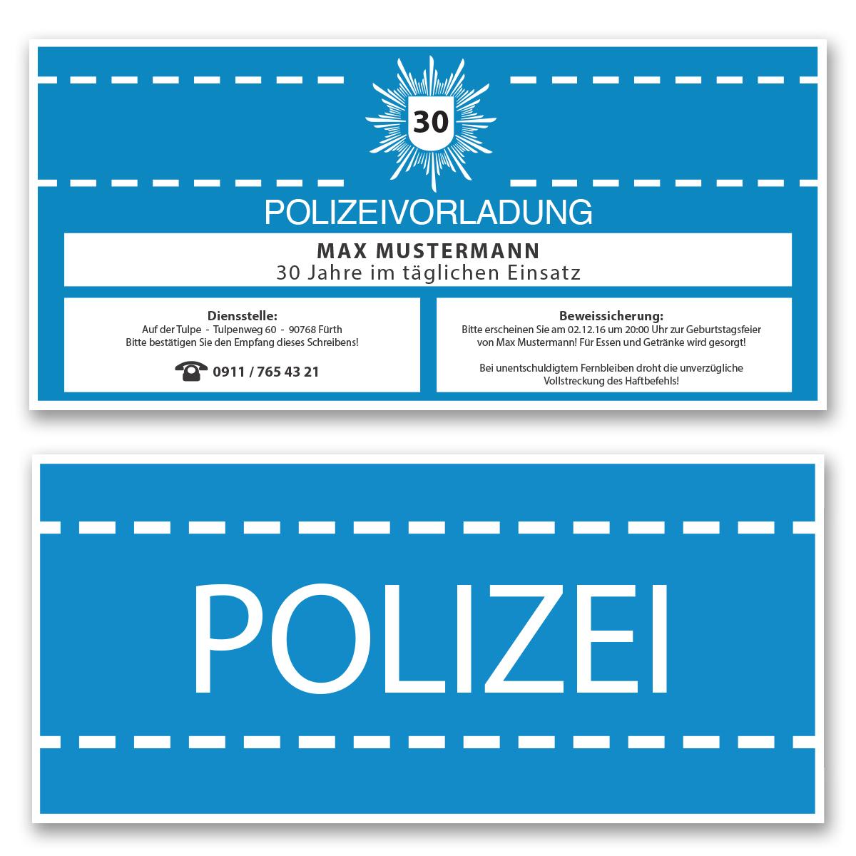 Einladungskarten zum Geburtstag als Polizeivorladung