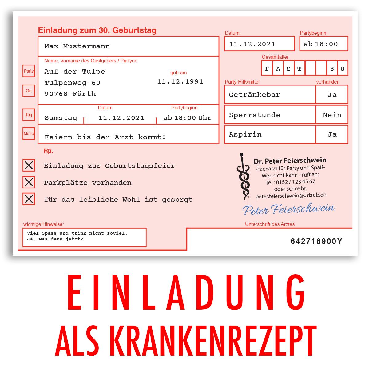 Einladungskarten Zum Geburtstag Als ärztliches Rezept Arzt Party Einladung