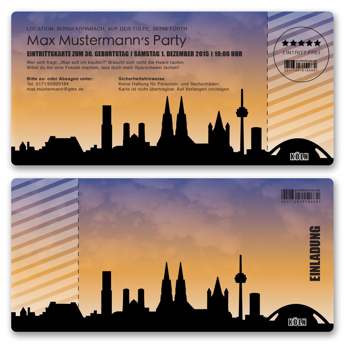 Einladungskarten Als Skyline Köln Ab 55 Cent / Einladung    GESTALTENLASSEN.COM