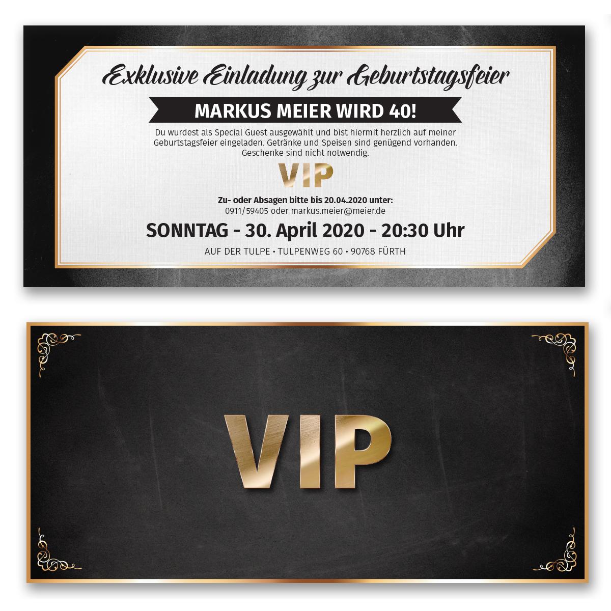 Einladungskarten Zum Geburtstag VIP Karte Ticket Einladung Edel