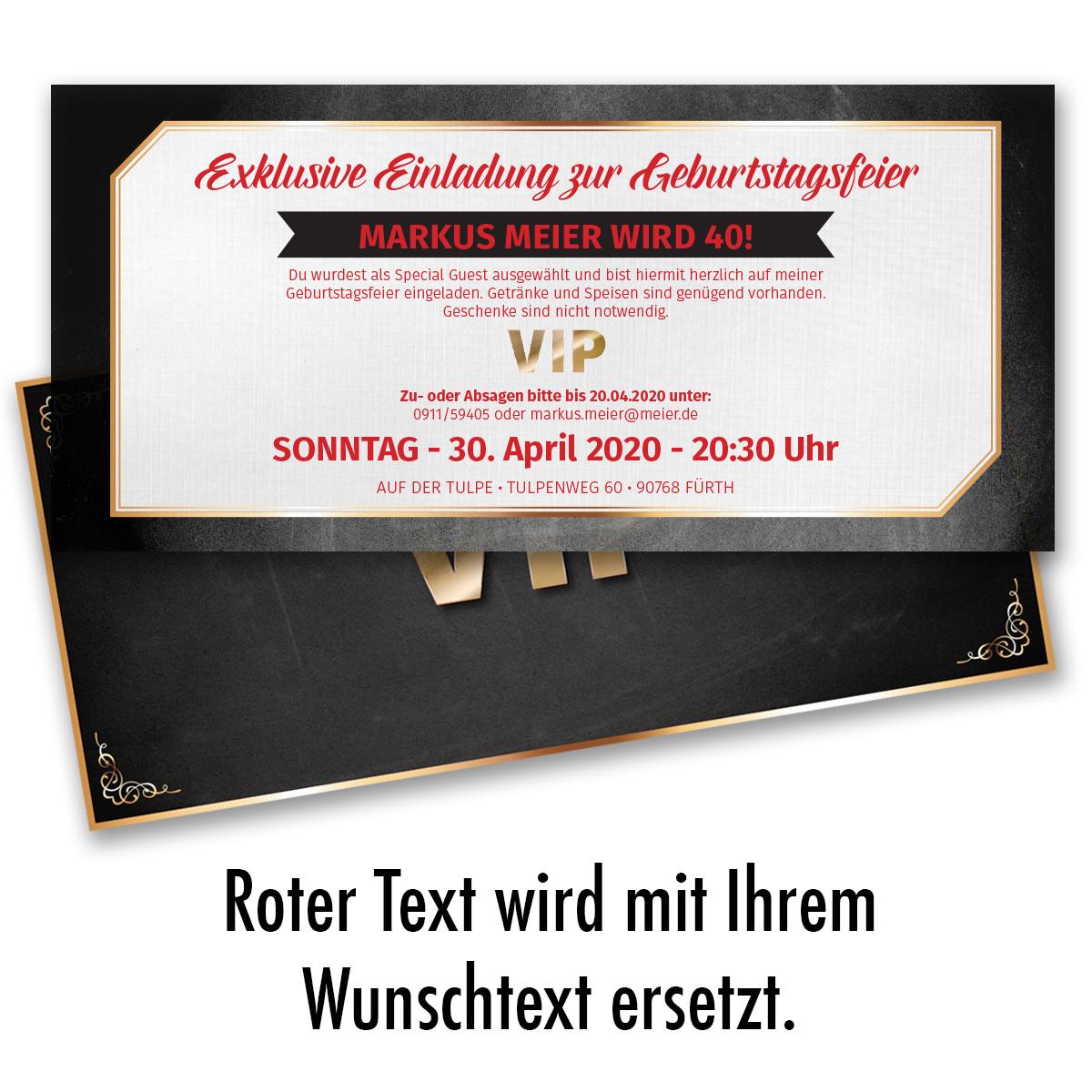 Einladungskarten zum Geburtstag VIP Karte Ticket Einladung Edel | eBay - Einladungskarten Vip Ticket