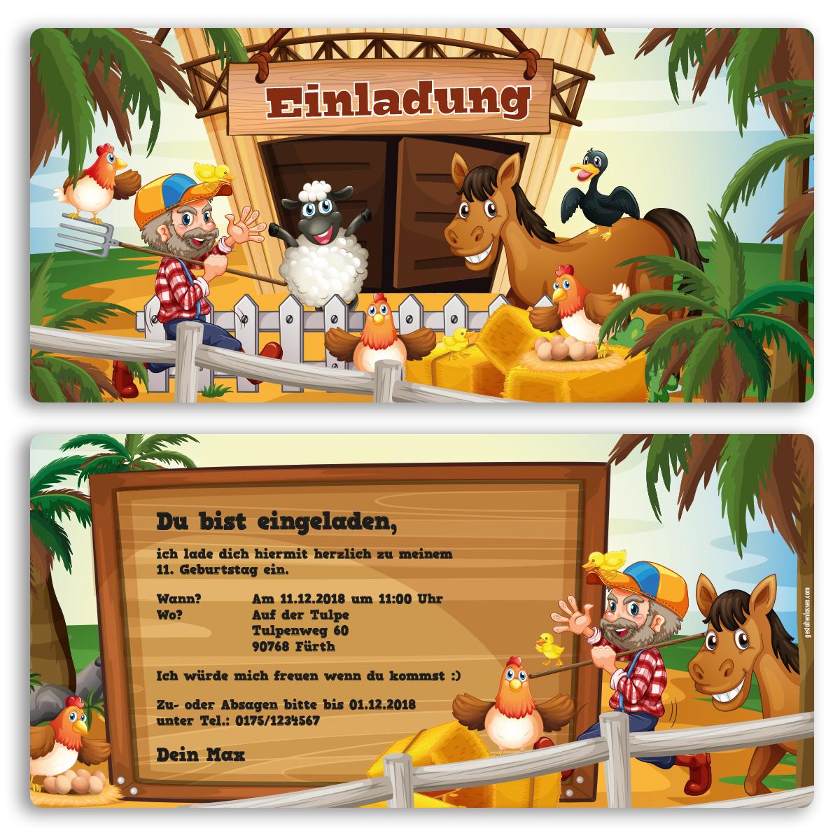 Einladung Zum Geburtstag Bauernhof Pony Einladungskarten Kindergeburtstag