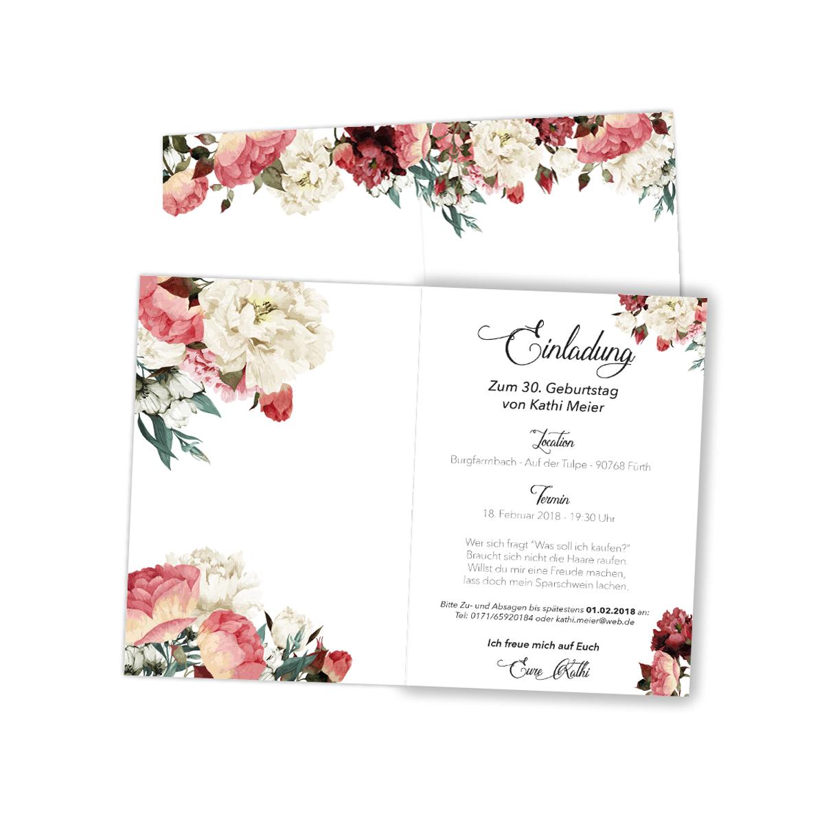 einladungen zum geburtstag rosen blumen klappkarten einladungskarten ebay. Black Bedroom Furniture Sets. Home Design Ideas