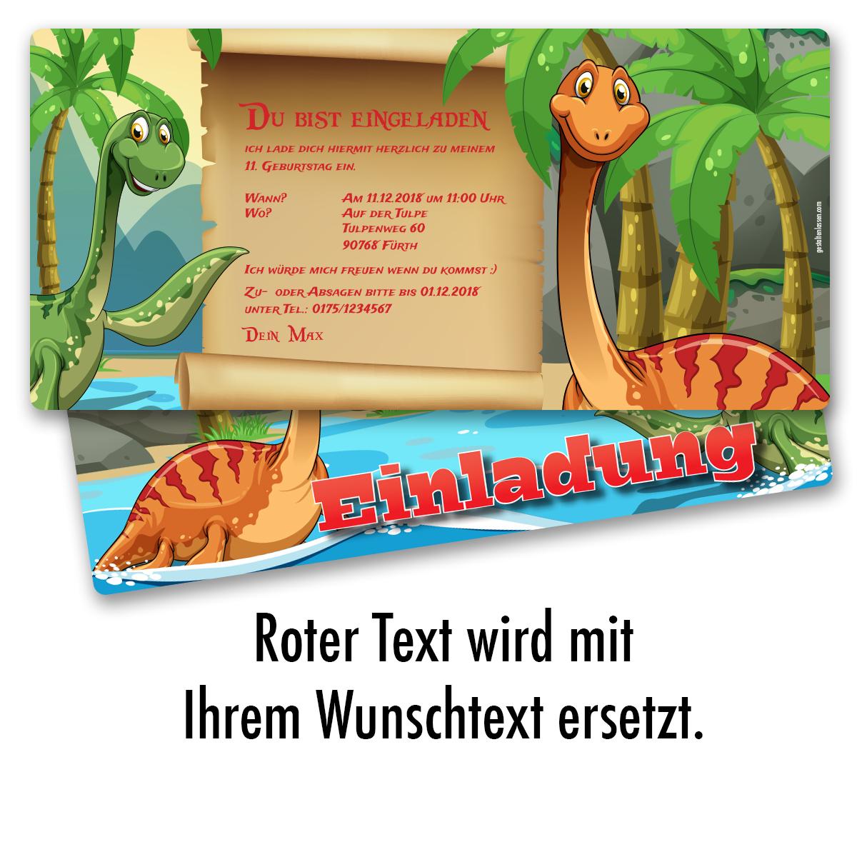 Einladung Zum Geburtstag Dinosaurier Karte Einladungskarten Kindergeburtstag