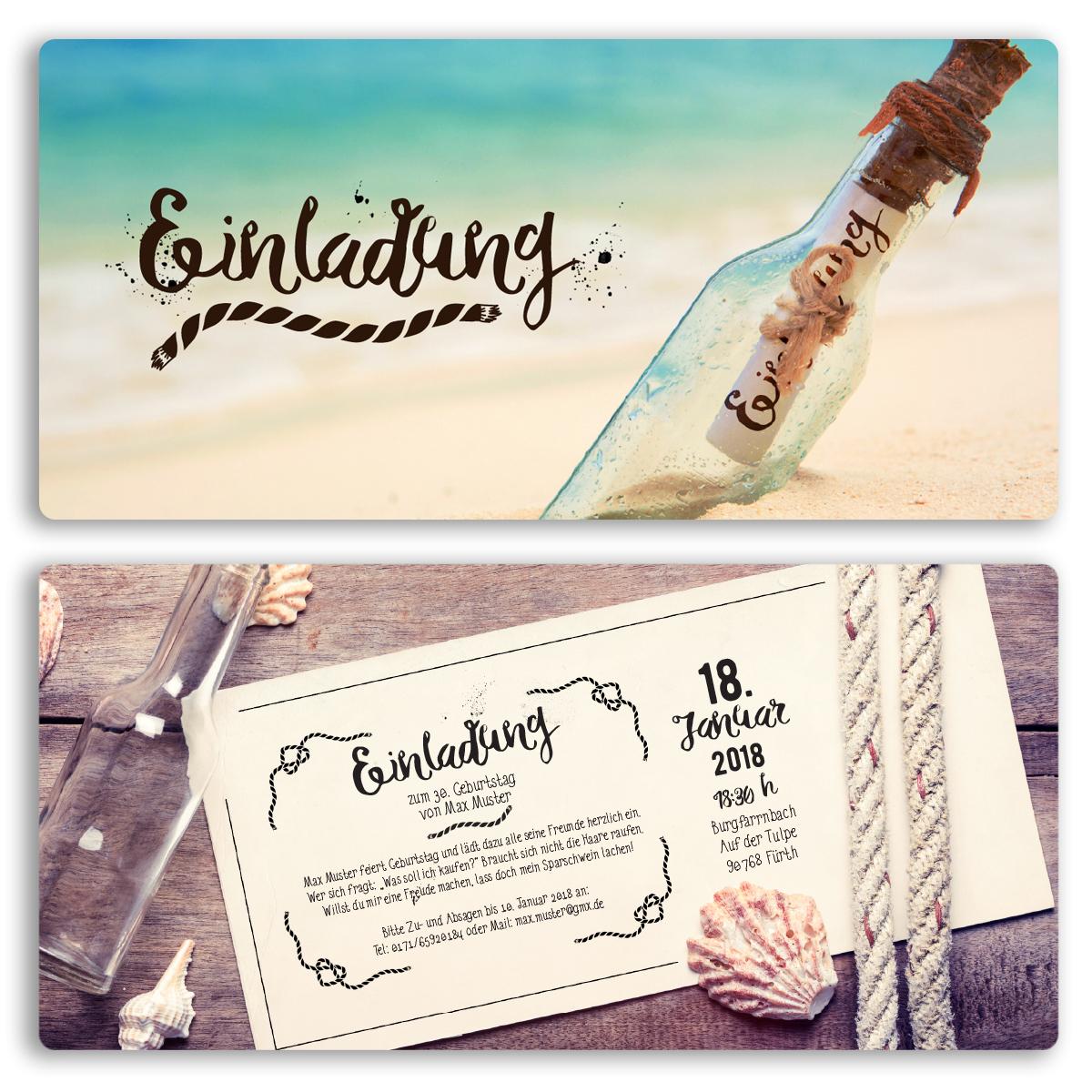 einladungskarten im flaschenpost design online gestalten
