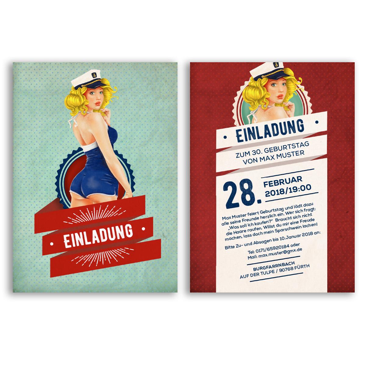 einladungen zum geburtstag pin up girl vintage retro, Einladung
