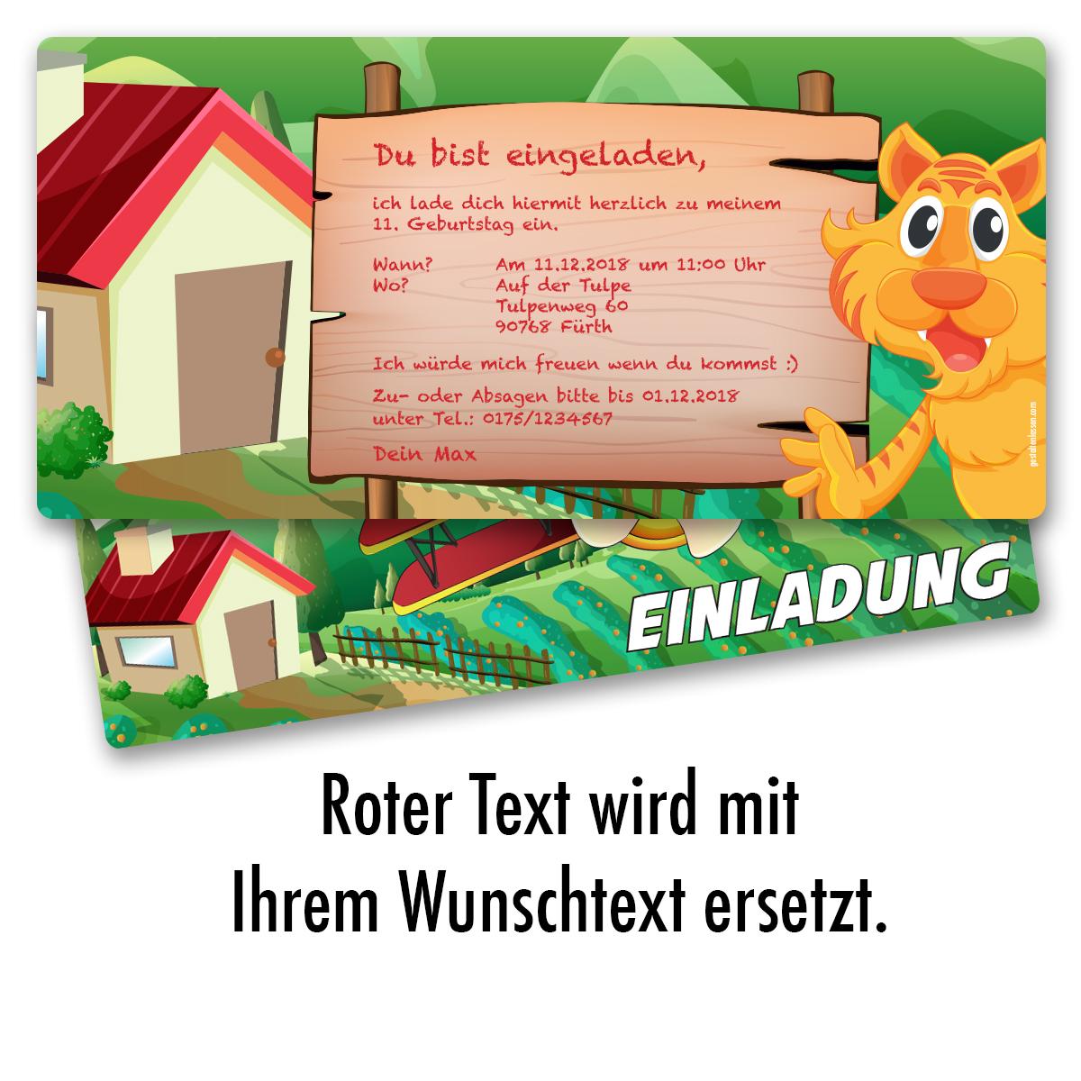 Einladung Zum Geburtstag Tiger Flugzeug Einladungskarten Karte  Kindergeburtstag