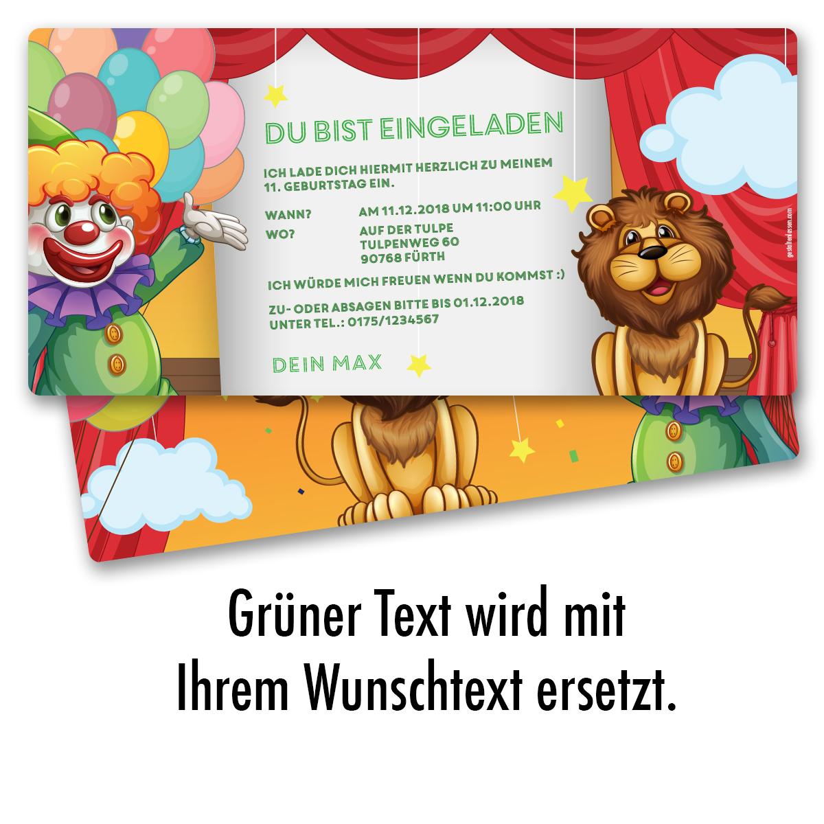 einladung zum geburtstag zirkus clown karte einladungskarten kindergeburtstag ebay. Black Bedroom Furniture Sets. Home Design Ideas