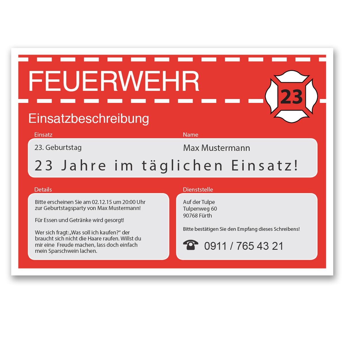 einladungskarten zum geburtstag als feuerwehr einsatz