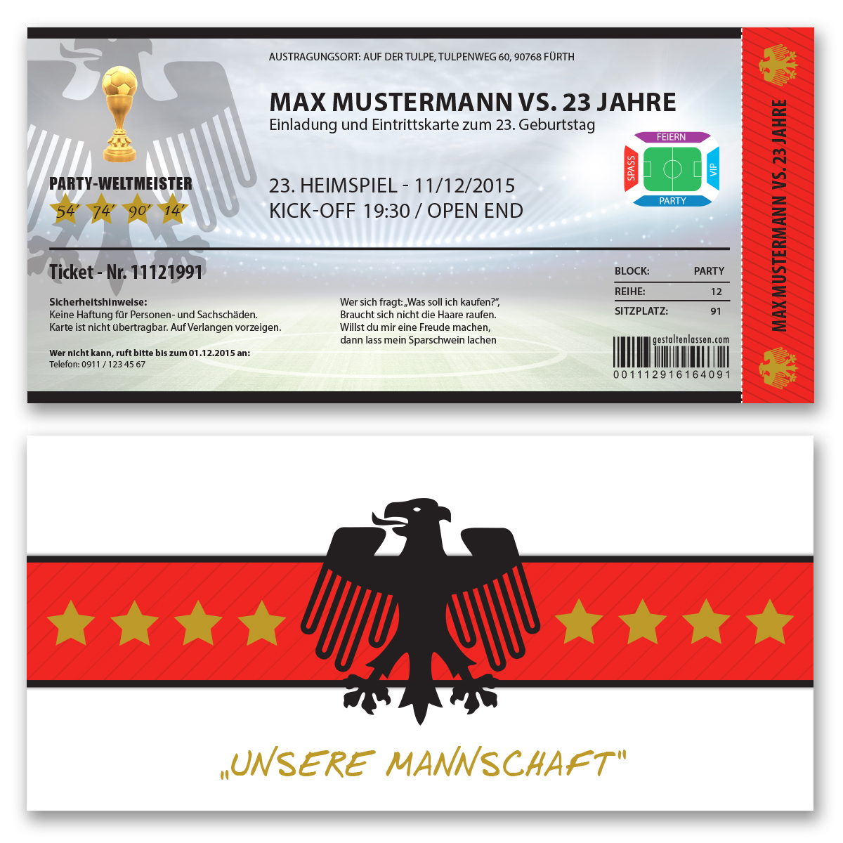 einladungskarten zum geburtstag als fussballticket karte