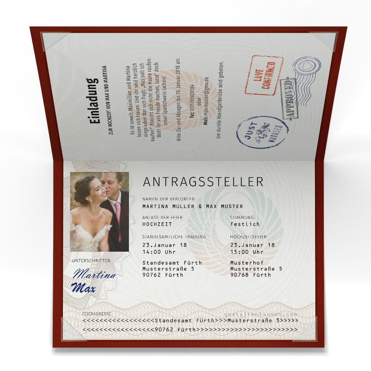 Hochzeitseinladungen als Reisepass Partypass Passport Ausweis ...