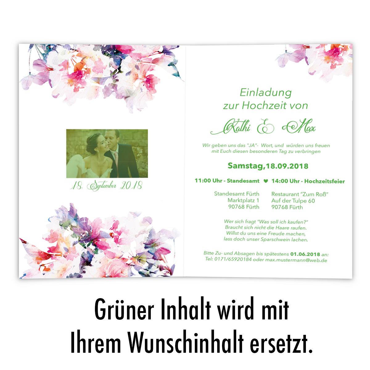 Einladungen Zur Hochzeit Blumen Aquarell Klappkarten