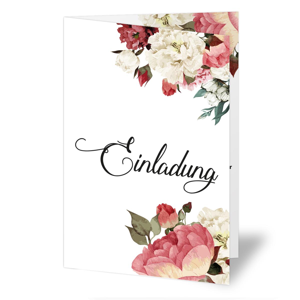 einladungen zur hochzeit blumen rosen klappkarten einladungskarten ebay. Black Bedroom Furniture Sets. Home Design Ideas